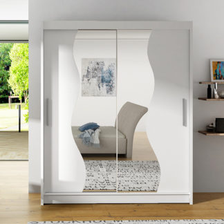 Šatní skříň BEGA S, bílá/zrcadlo