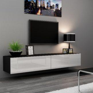 """Televizní stolek VIGO """"180"""" plná dvířka, černá/bílý lesk"""