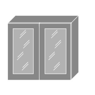 EMPORIUM, skříňka horní prosklená W3S 80, korpus: grey, barva: light grey stone