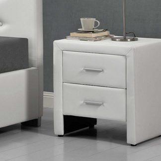 CASTEL čalouněný noční stolek, bílá