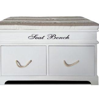SEAT BENCH 1 NEW lavice s polštářem, bílá/hnědá