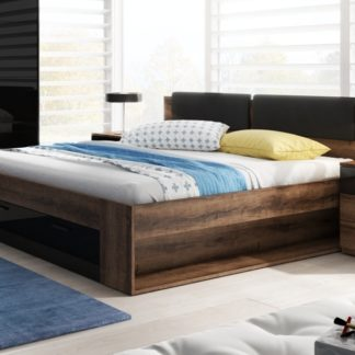GALAXY postel 160x200 cm TYP 51, dub monastery/černý lesk