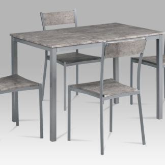 Jídelní set JEREMY SRE 1+4, beton/šedý kov