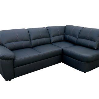 Kožená rohová sedačka AROSA, černá, pravá