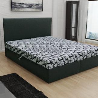 Čalouněná postel JERRY 140x200, šedá látka se vzorem/černá ekokůže