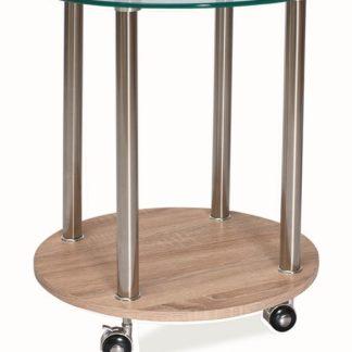 Konferenční stolek CARLA, sklo/kov/dub sonoma