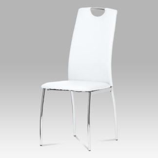 Jídelní židle DCL-419 WT, koženka bílá / chrom