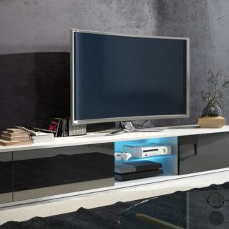 TV stolek HIT, bílá/černý lesk
