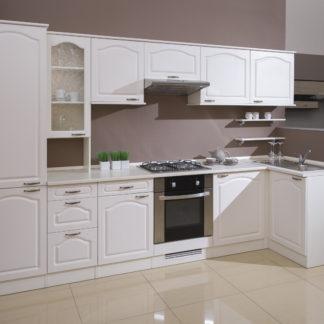 Rohová kuchyně JULA 320x100 cm, korpus vanilka/dvířka magnolie