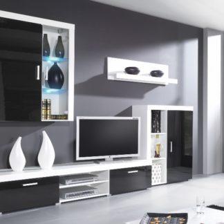 SAMBA A, obývací stěna, bílá/černý lesk