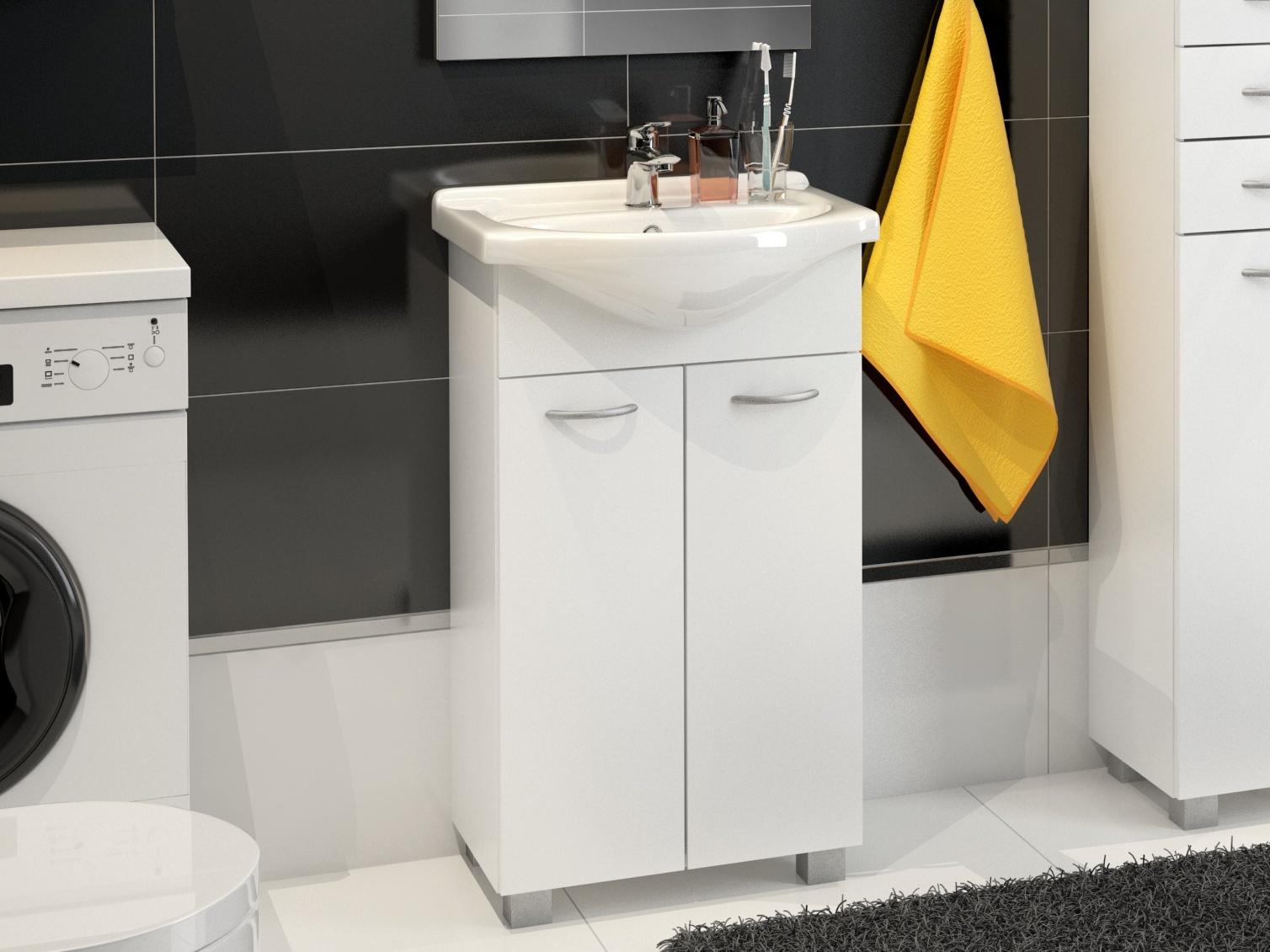 Koupelnová skříňka NEJBY s umyvadlem, bílá