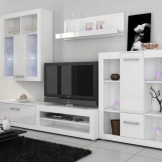 VIKI, obývací stěna, bílá/bílý lesk
