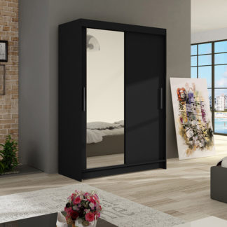 Šatní skříň MIAMII VI, černý mat/zrcadlo