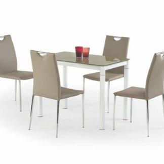 Jídelní stůl ARGUS, béžová/bílá, kov/sklo