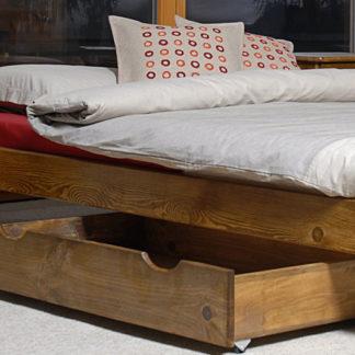 Úložný prostor pod postel 98 cm, masiv borovice/moření dub