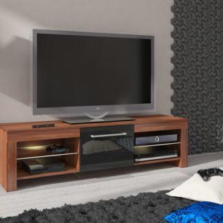 TV stolek FLEX, švestka wallis/černý lesk