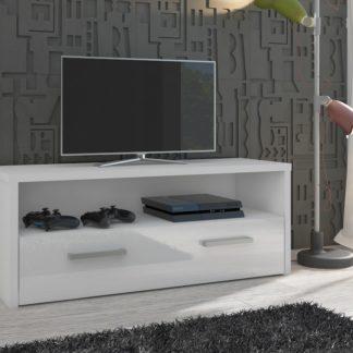TV stolek TIRANA, bílá/bílý lesk
