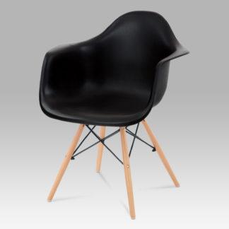 Jídelní židle CT-719 BK1, plast černý / natural