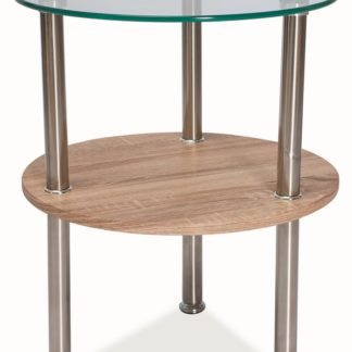 Konferenční stolek IVET, sklo/dub/kov