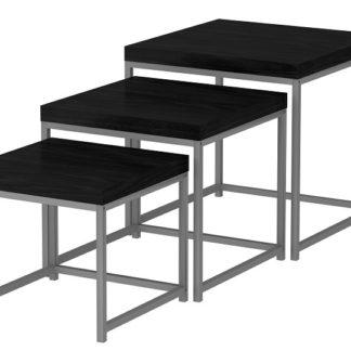 ALVAN set 3 stolků, černý dub/šedá