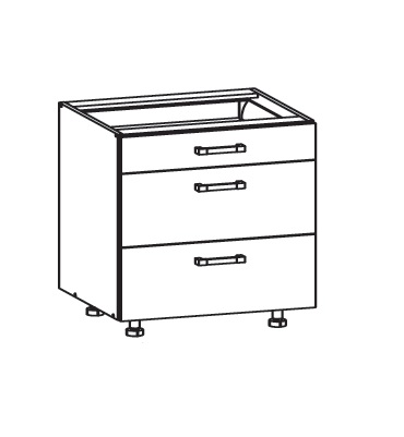 FIORE dolní skříňka D3S 80 SMARTBOX, korpus ořech guarneri, dvířka bílá supermat