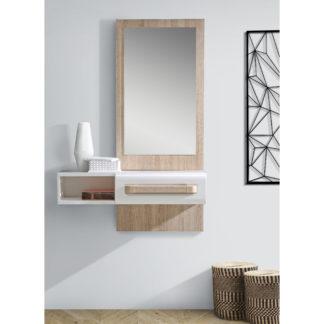 Předsíňové zrcadlo ATTENTION ATND01, dub sonoma/bílá/bílý lesk