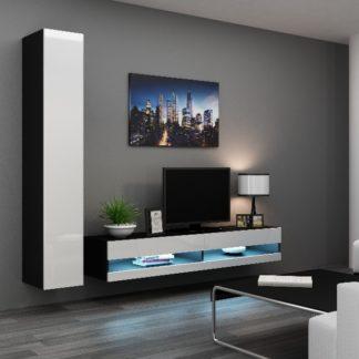 Obývací stěna VIGO NEW 9, černá/bílý lesk