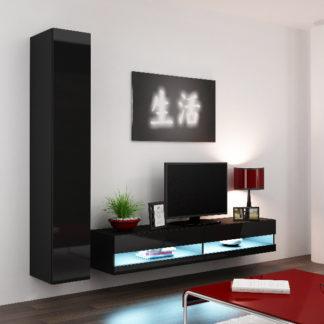 Obývací stěna VIGO NEW 9, černá/černý lesk