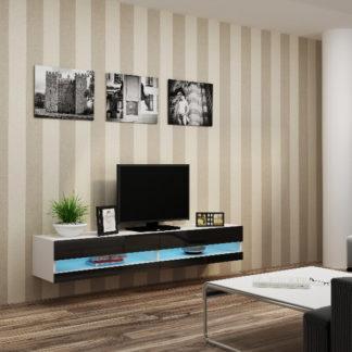 """Televizní stolek VIGO NEW """"180"""", bílá/černý lesk"""