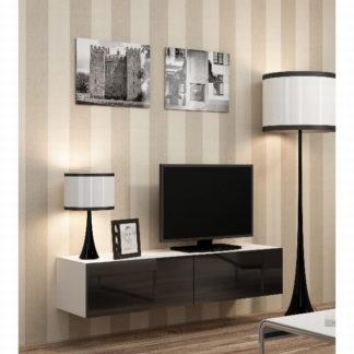 "Televizní stolek VIGO ""140"" plná dvířka, bílá/černý lesk"