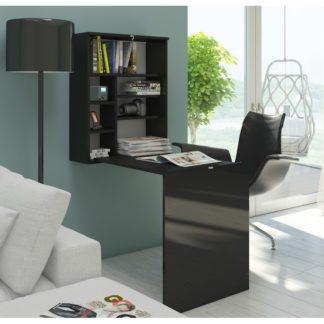 Psací stůl HIDE, černá/černý lesk