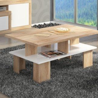 Konferenční stolek SUPRA 2, dub sonoma/bílý lesk