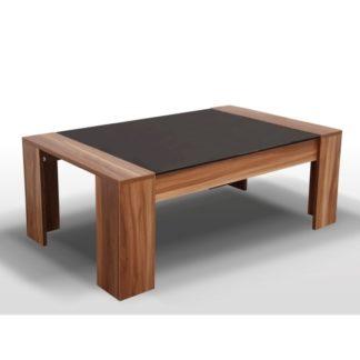 RAYMOND konferenční stolek, ořech/černé sklo