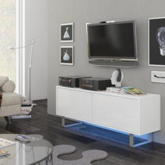 KING 1 TV stolek, bílá/bílý lesk