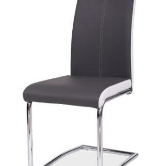 Jídelní čalouněná židle H-341, šedá/bílé boky