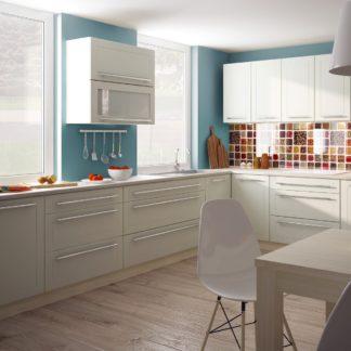 Rohová kuchyně QUANTUM, vzorová sestava, vanilla mat/jersey