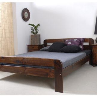 Postel KLAUDIA 160x200 cm s roštem, masiv borovice/moření ořech