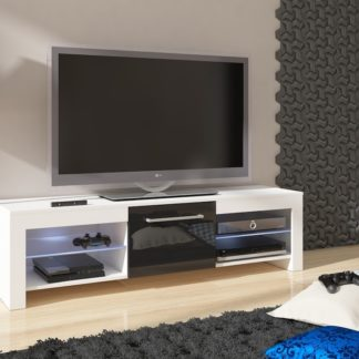 TV stolek FLEX, bílá/černý lesk