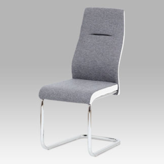 Jídelní židle HC-238 GRW2, šedá látka / bílá koženka