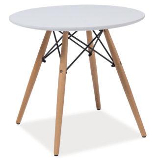 Jídelní stůl kulatý SOHO 90, bílá/buk