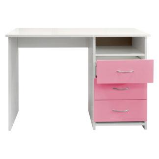Psací stůl 44, bílá/růžová