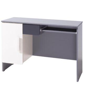 PC stůl LIDO, šedá/grafit+bílá