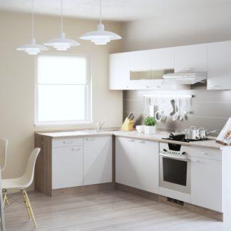 Rohová kuchyně BORA 150x270 cm, korpus dub bardolino/dvířka bílý lesk