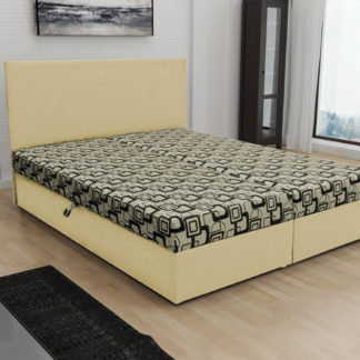 Čalouněná postel JERRY 180x200, béžová látka se vzorem/krémová ekokůže