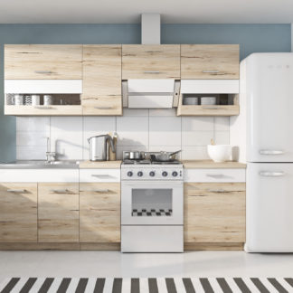 Kuchyně RIO 180/240 cm, korpus dub sanremo, dvířka dub sanremo/bílý mat