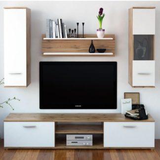 WAW obývací stěna, dub wotan / bílá