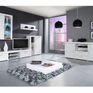 SAMBA C, obývací stěna, bílá/bílý lesk