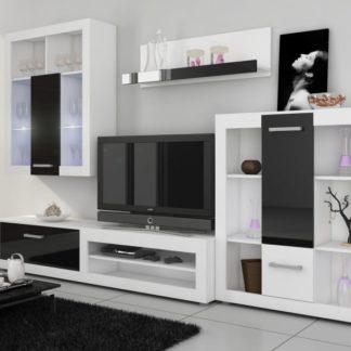 VIKI, obývací stěna, bílá/černý lesk