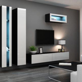 Obývací stěna VIGO NEW 2, černá/bílý lesk