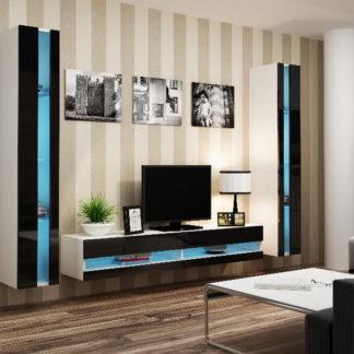 Obývací stěna VIGO NEW 3, bílá/černý lesk